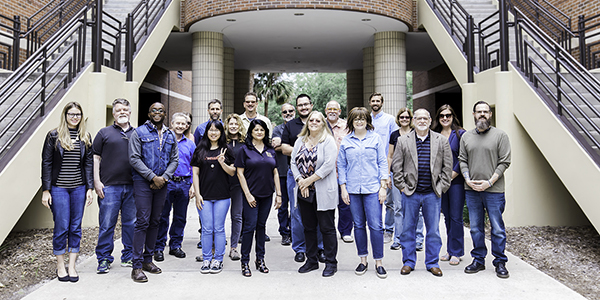 SVAD Faculty and Staff standing in front of Visual Arts Building.