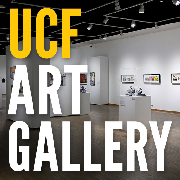 """UCF ART GALLERY"" overlaid on image of the gallery space"