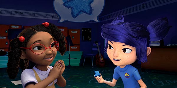 Still image from animated short with two young girls